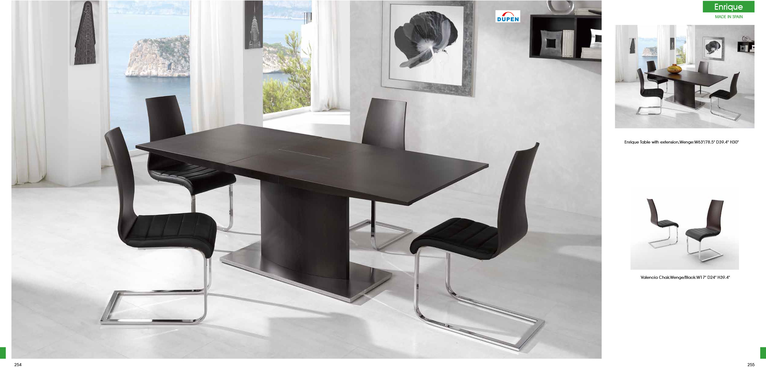 Enrique Table With Valencia Chairs 5pc Dining Set